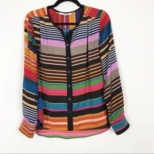 Trina Turk Retro Stripe Button Down Blouse Top S